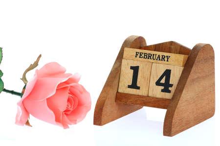 wood calendar on white background photo