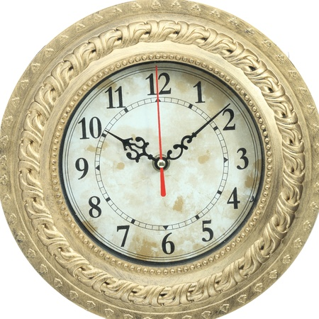 old clock on white background photo
