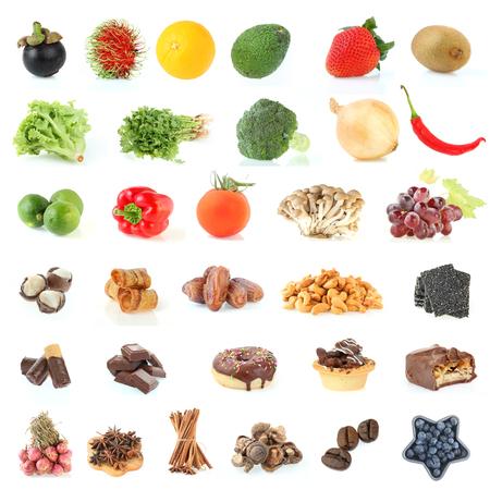 voedselverzameling achtergrond gezond eten van groenten en fruit op een witte achtergrond Stockfoto
