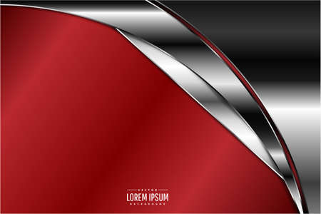 Elegant metallic background.Luxury of red and silver.Vector illustration. Illustration
