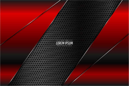 Abstract metallic background.Red with carbon fiber.Dark space technology concept.Vector illustration.Eps10