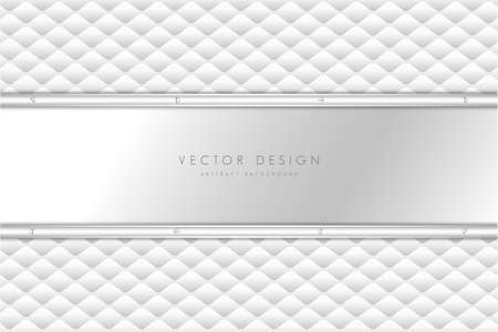 Metallic background. Elegant of Gray metal with white upholstery modern design. Luxury for wedding, invitation or greeting card.