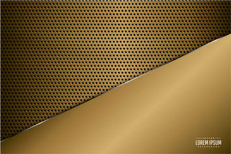 Metallic background.Luxury of gold with carbon fiber texture.Golden metal technology concept.