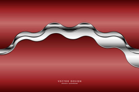 Metallic background.Red and gray with silver glossy.Luxury metal modern design.