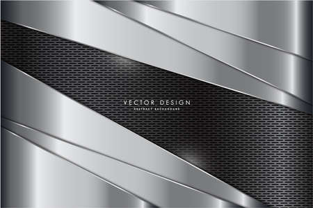 Metallic background.Gary and silver with carbon fiber texture.Metal technology concept.