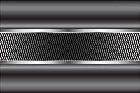 Metallic background.Gray and silver with carbon fiber.Glow line luxury metal technology concept. Vektorgrafik