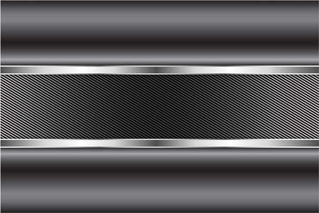 Metallic background.Gray and silver with carbon fiber.Glow line luxury metal technology concept. Vector Illustration