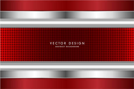 Metallic background.Red and silver with carbon fiber texture.Metal technology concept.