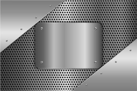 Metallic background. Metal plate with screws on perforated texture technology concept. Illustration