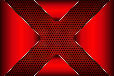 Metal technology background of red with perforated texture.Vector illustration.