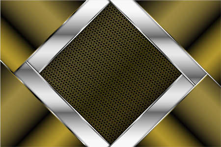 Metallic of green and silver with carbon fiber texture luxury background.Vector illustration.