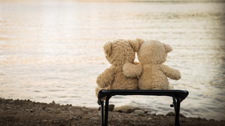 teddybears relaksu nad jeziorem i górami