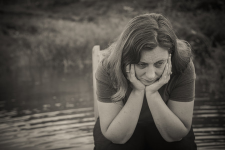 woman suffering from fear, loneliness, depression, abuse, addiction
