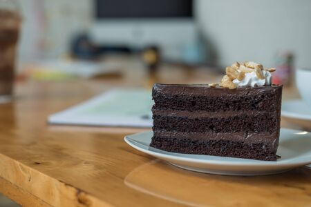 patisserie: A piece of chocolate cake on the table, close-up Stock Photo