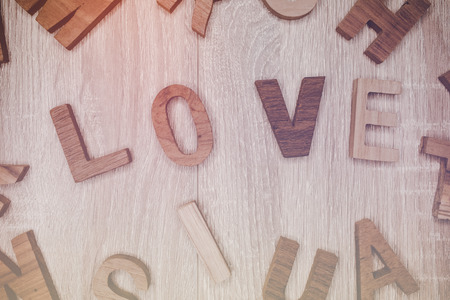 Love letter in wood for valentines day, vintage tone
