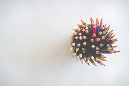 Colorful background with many crayons, Top view flat lay Stock Photo