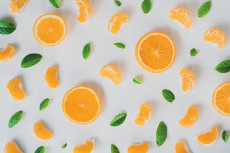 Flat lay Fresh orange isolated on white background