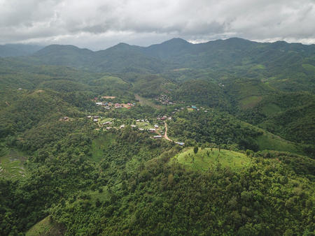 Aerial photos A small village in the jungle in Chiang Mai, Thailand.
