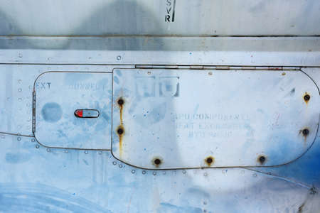 aluminum airplane: metallic background with Rivets,sign, part of the old aircraft Stock Photo