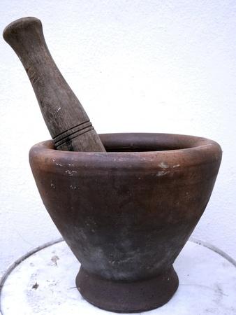 utensilios de cocina: Utensilios de cocina tailandesa el mortero y pastle. Foto de archivo