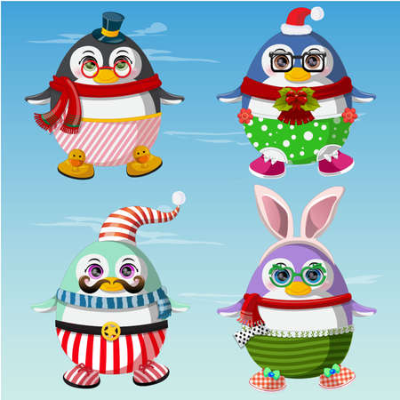 scarf beach: Set of cute penguins winter clothes