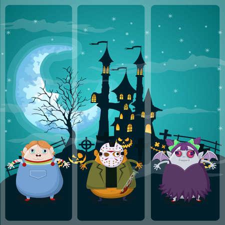 chucky: Happy halloween night on Chucky,Jason,Devil Illustration