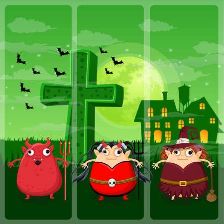 chucky: Happy halloween night on Devil,Devil girl,Witch Illustration