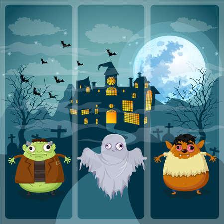 Happy halloween night on Frankenstein,Ghost,Werewolf Illustration