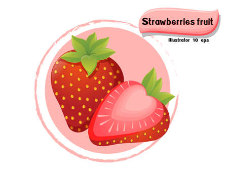 Vector Strawberries fruit isolated on color background,illustrator 10 eps