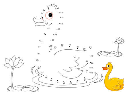Duck Connect the dots and color Illustration