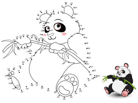 Panda Connect the dots and color