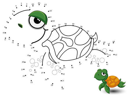Turtle Connect the dots and color Фото со стока - 83546732