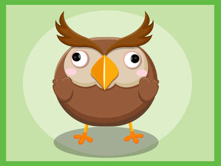 bebe a bordo: Cute Owl Cartoon. Funny cartoon and vector animal characters Vectores