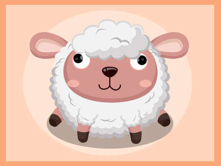 bebe a bordo: Cute Sheep Cartoon. Funny cartoon and vector animal characters Vectores