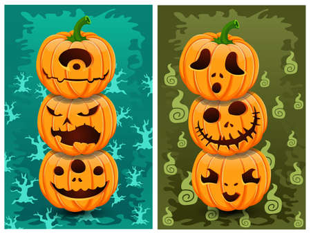 Halloween pumpkins and background vector. Illustration