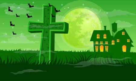 Greenish Halloween night background vector