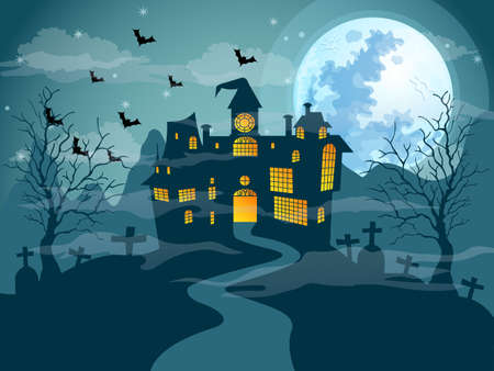 The moon night halloween day vector Illustration