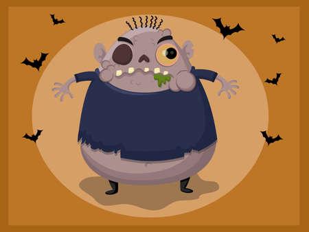ghost house: Cute zombie cartoon vector illustration.