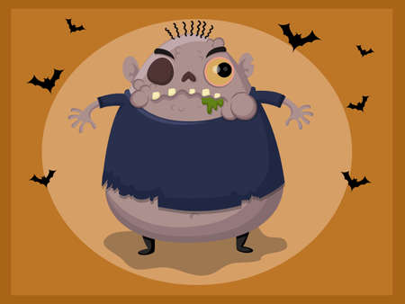 Cute zombie cartoon vector illustration.