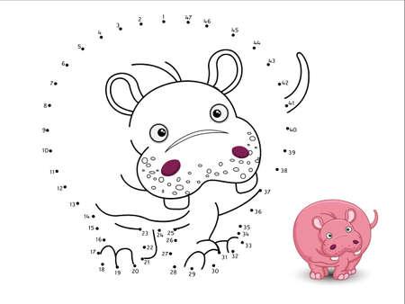 Hippo Cartoon Conecte Los Puntos Y La Hoja De La Página De Color ...