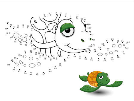 Turtle Cartoon Connect the dots and color page sheet