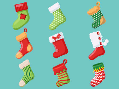 Set of Christmas socks. Collection of merry Christmas and New Year. Vector illustration. Illustration