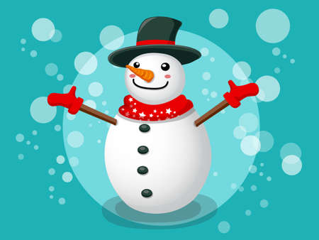 Snowman Christmas and New Year background, vector illustration.