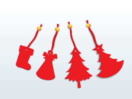 Christmas with red ornaments, Happy New Year and decoration element. Vector illustration.