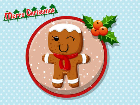 merry christmas cute cartoon gingerbread man cookies on a colorful background happy new year - Merry Christmas Cute