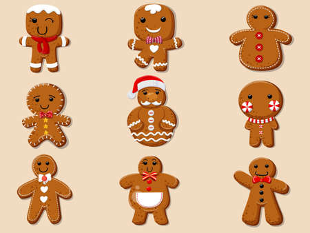 Set of cute cartoon Gingerbread man cookies
