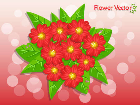 Fresh spring beautiful color flowers on background. Holiday and decorative element vector illustration, floral and garden.