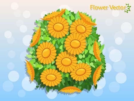 Fresh Spring Beautiful Color Flowers On Background. holiday and decorative element. Vector illustration. Floral and garden