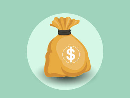 Money bag vector icon with a dollar sign isolated color and Background vector illustration