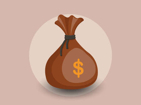 Money bag vector icon with a dollar sign. isolated color and Background vector illustration
